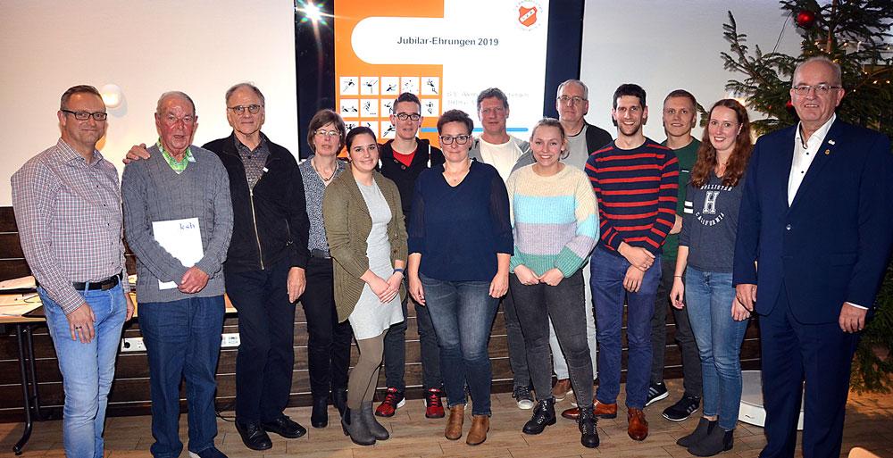 Der Sportverein ehrte 44 Mitglieder für langjährige Treue.